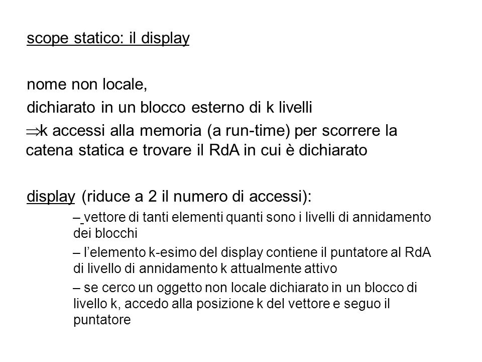 scope statico: il display nome non locale,