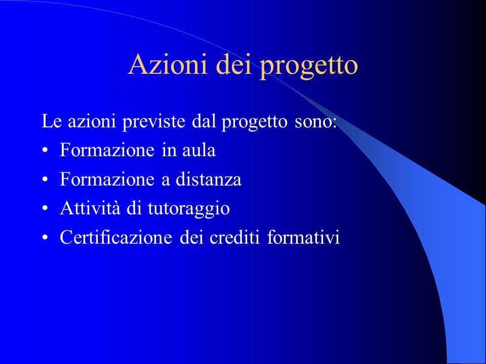 Azioni dei progetto Le azioni previste dal progetto sono: