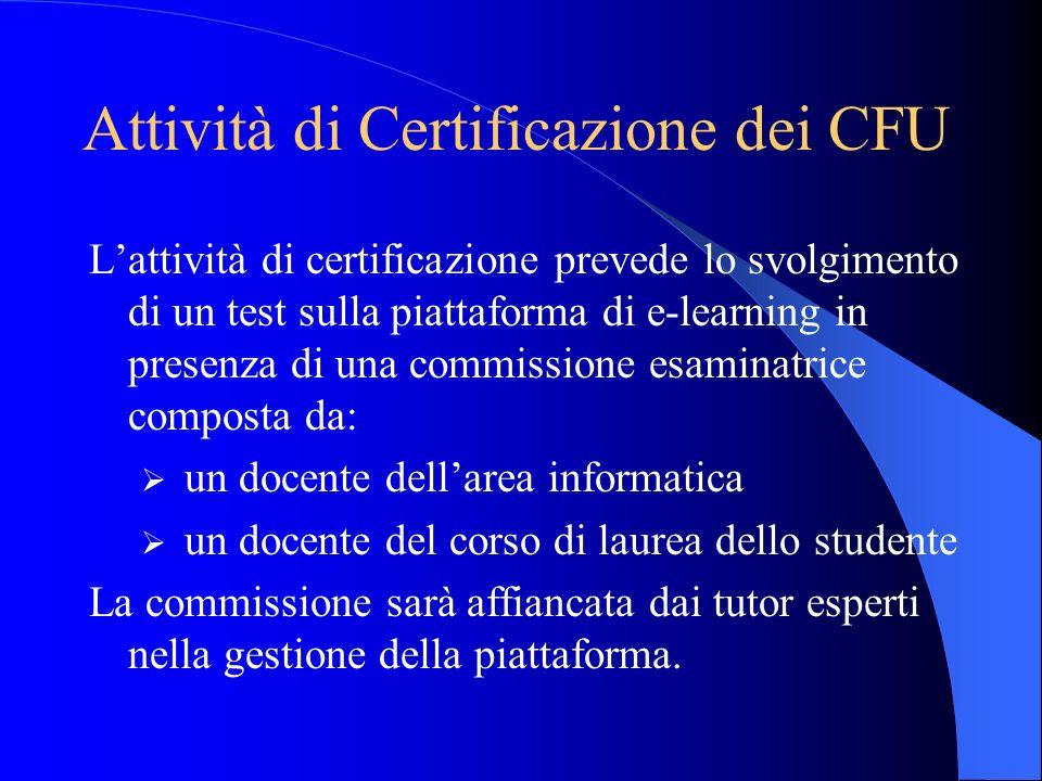 Attività di Certificazione dei CFU