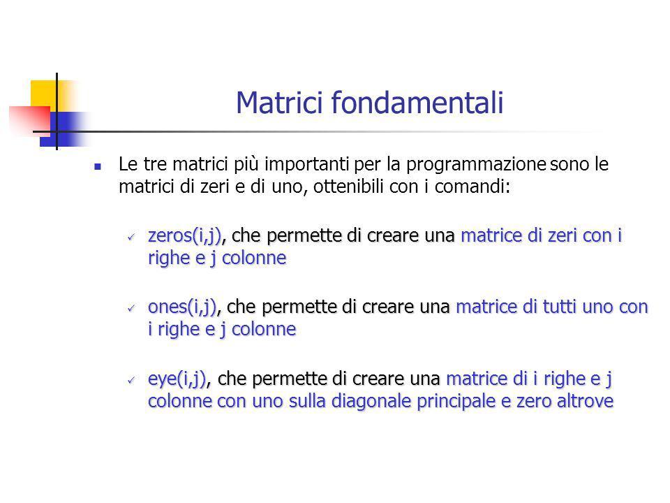 Matrici fondamentali Le tre matrici più importanti per la programmazione sono le matrici di zeri e di uno, ottenibili con i comandi: