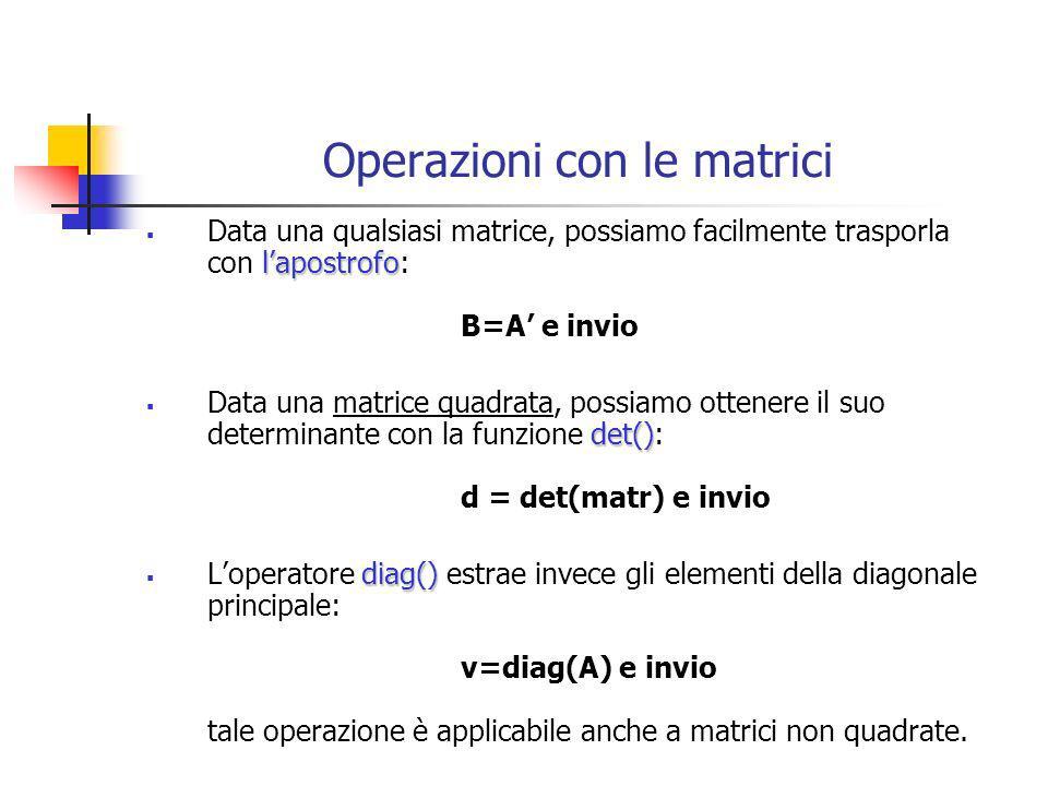 Operazioni con le matrici