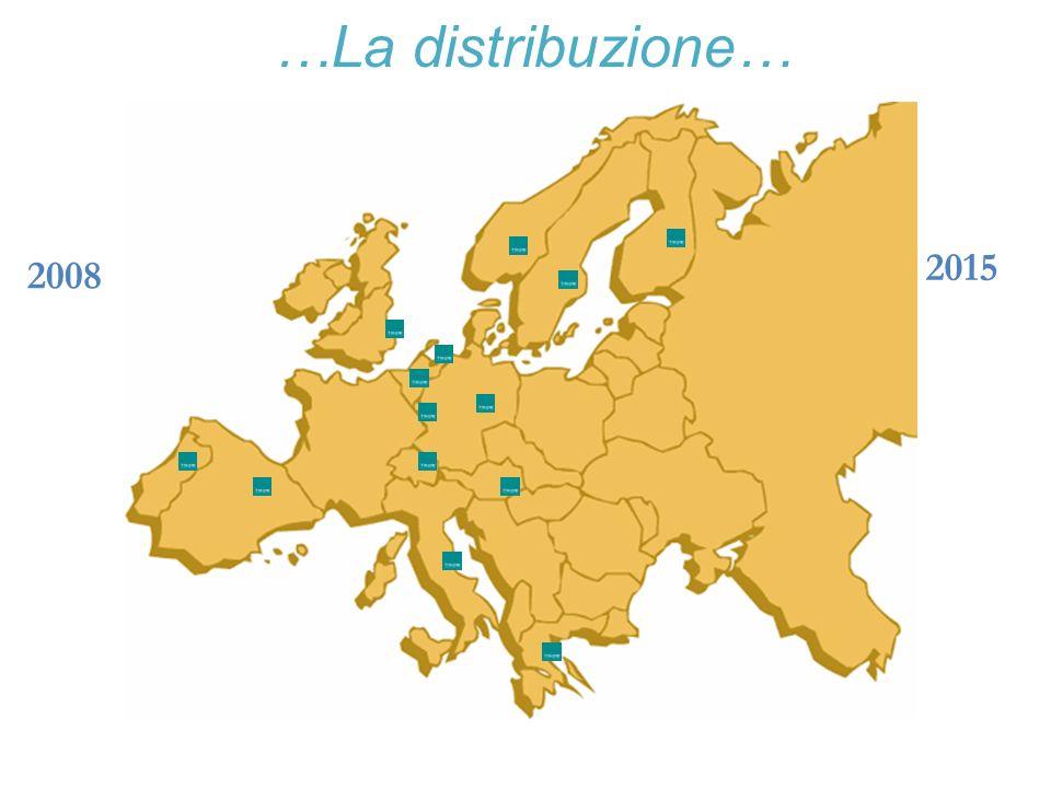 …La distribuzione… 2015. 2008. 2008: Italia, Germania, Austria, Svizzera, Spagna, Portogallo. 2015: Inghilterra, Benelux, Scandinavia.