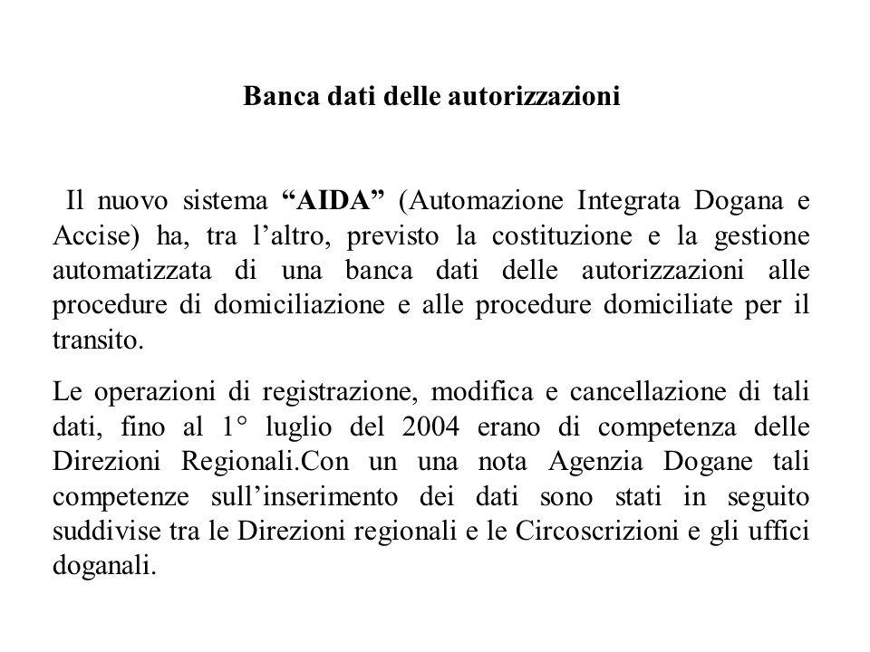 Banca dati delle autorizzazioni