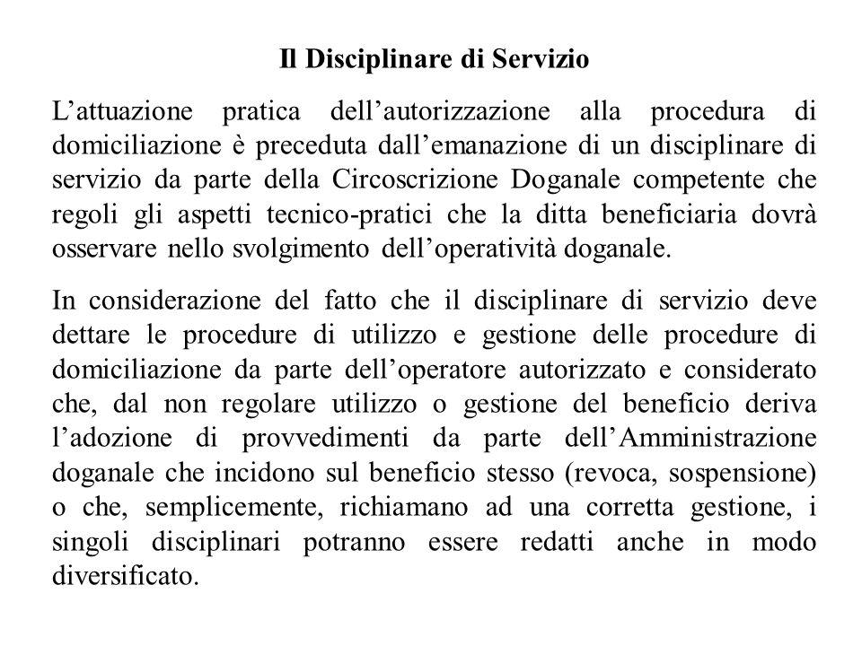 Il Disciplinare di Servizio