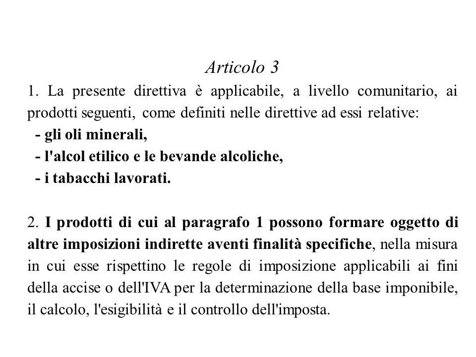 Articolo 3 1. La presente direttiva è applicabile, a livello comunitario, ai prodotti seguenti, come definiti nelle direttive ad essi relative: