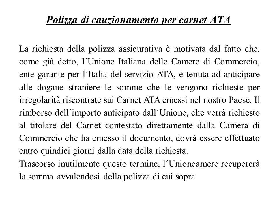Polizza di cauzionamento per carnet ATA
