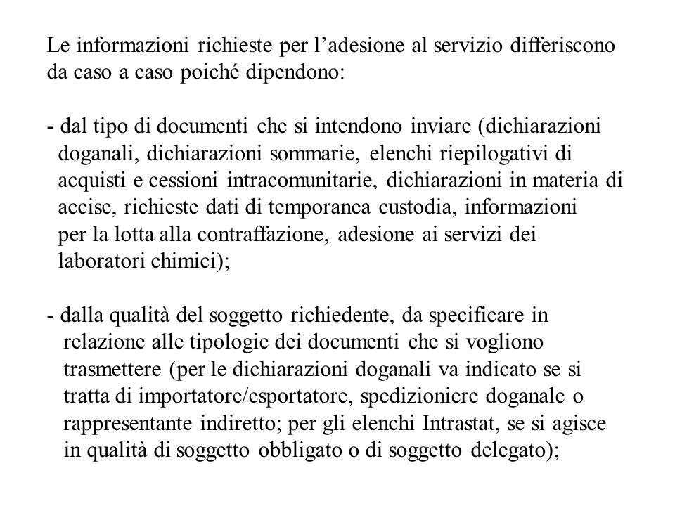Le informazioni richieste per l'adesione al servizio differiscono