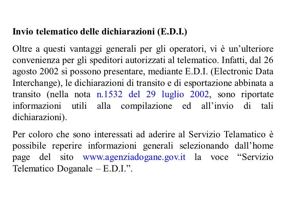 Invio telematico delle dichiarazioni (E.D.I.)