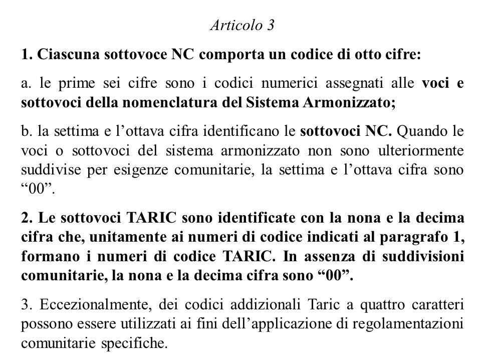 Articolo 3 1. Ciascuna sottovoce NC comporta un codice di otto cifre: