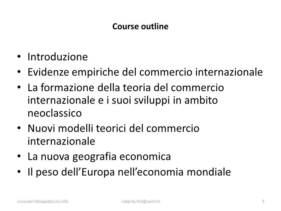 Evidenze empiriche del commercio internazionale