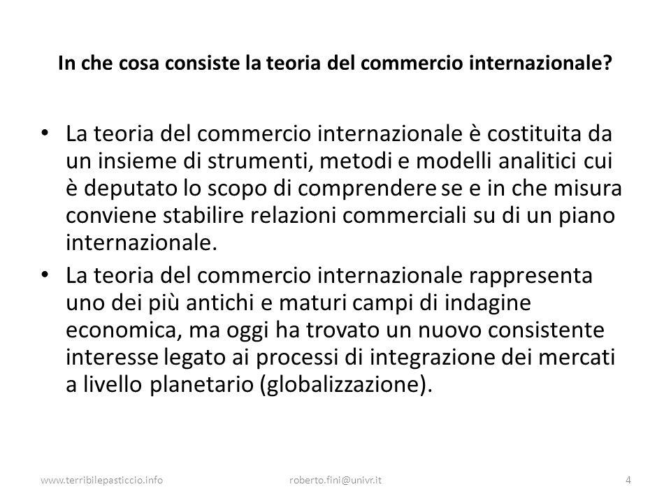 In che cosa consiste la teoria del commercio internazionale