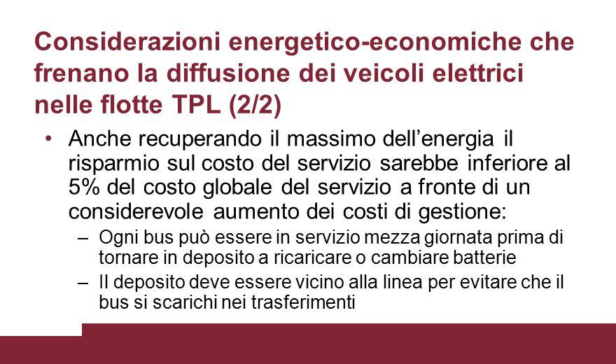 Considerazioni energetico-economiche che frenano la diffusione dei veicoli elettrici nelle flotte TPL (2/2)