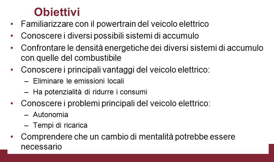 Obiettivi Familiarizzare con il powertrain del veicolo elettrico