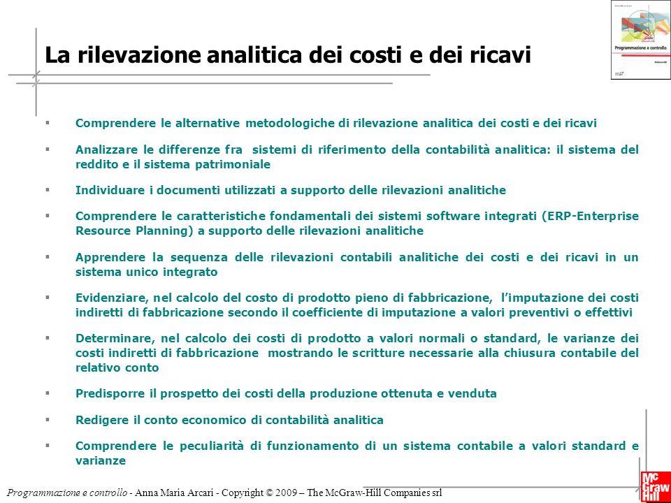 La rilevazione analitica dei costi e dei ricavi