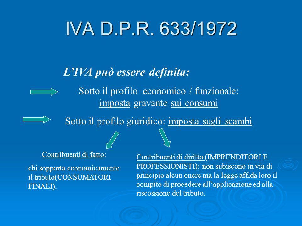 IVA D.P.R. 633/1972 L'IVA può essere definita: