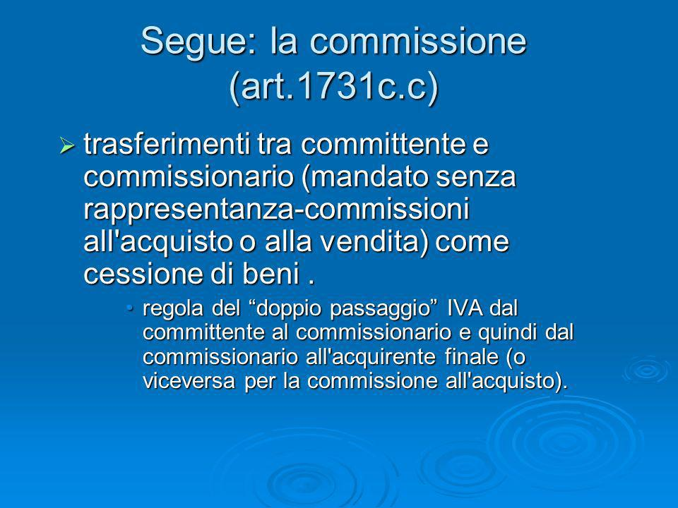 Segue: la commissione (art.1731c.c)
