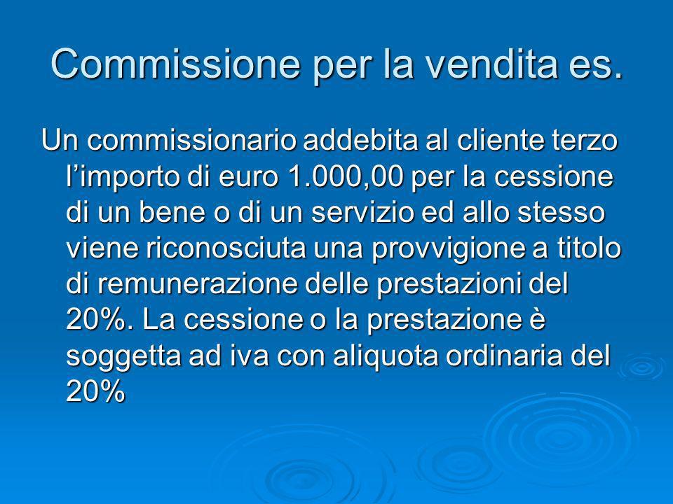 Commissione per la vendita es.
