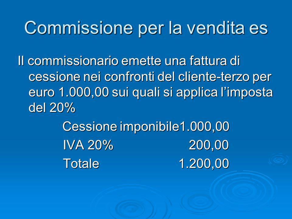 Commissione per la vendita es