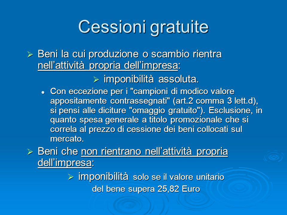 Cessioni gratuite Beni la cui produzione o scambio rientra nell'attività propria dell'impresa: imponibilità assoluta.