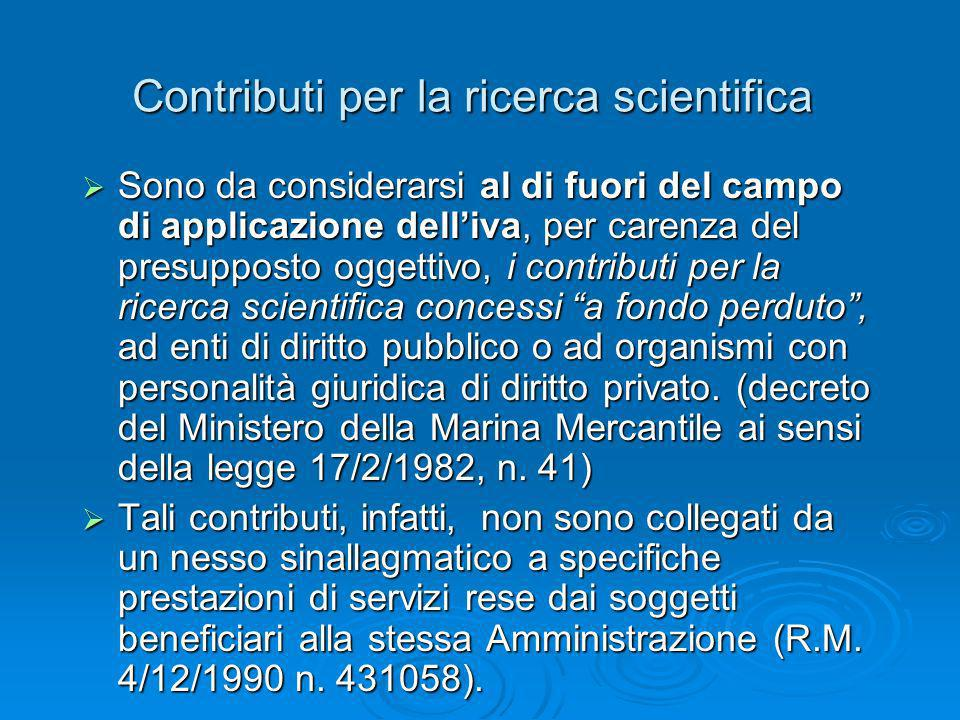 Contributi per la ricerca scientifica