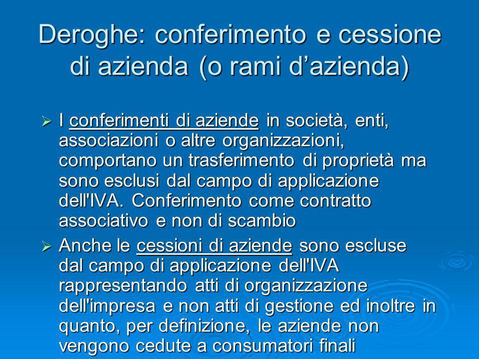 Deroghe: conferimento e cessione di azienda (o rami d'azienda)