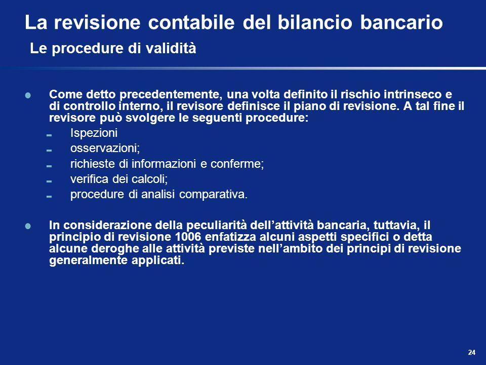 La revisione contabile del bilancio bancario Le procedure di validità