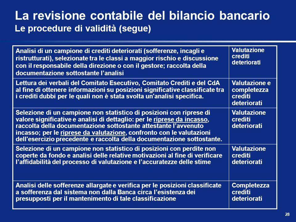 La revisione contabile del bilancio bancario Le procedure di validità (segue)