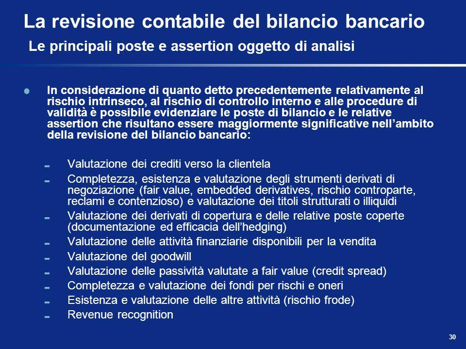 La revisione contabile del bilancio bancario Le principali poste e assertion oggetto di analisi