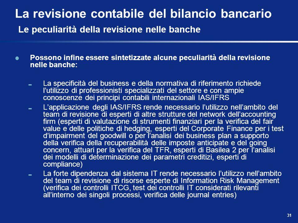 La revisione contabile del bilancio bancario Le peculiarità della revisione nelle banche