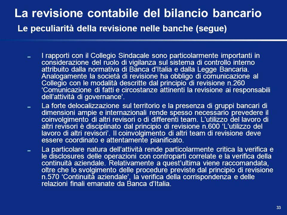 La revisione contabile del bilancio bancario Le peculiarità della revisione nelle banche (segue)