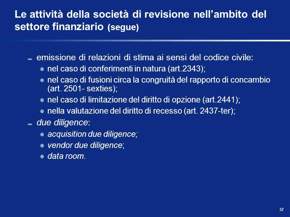 Le attività della società di revisione nell'ambito del settore finanziario (segue)