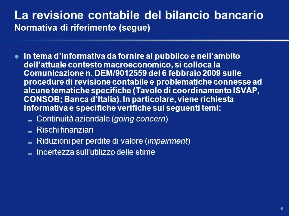 La revisione contabile del bilancio bancario Normativa di riferimento (segue)
