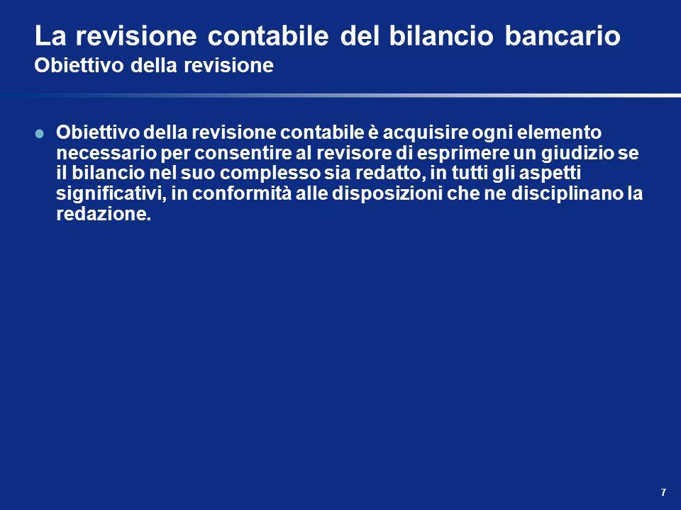 La revisione contabile del bilancio bancario Obiettivo della revisione