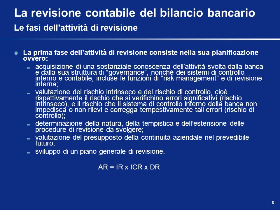 La revisione contabile del bilancio bancario Le fasi dell'attività di revisione
