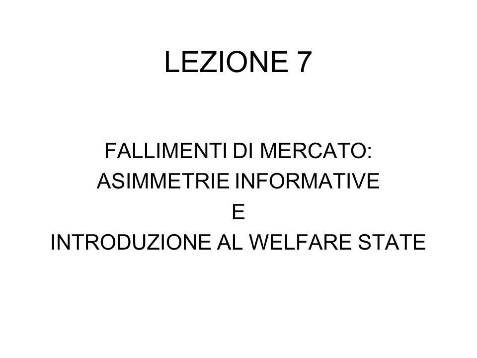 LEZIONE 7 FALLIMENTI DI MERCATO: ASIMMETRIE INFORMATIVE E
