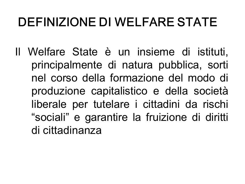 DEFINIZIONE DI WELFARE STATE