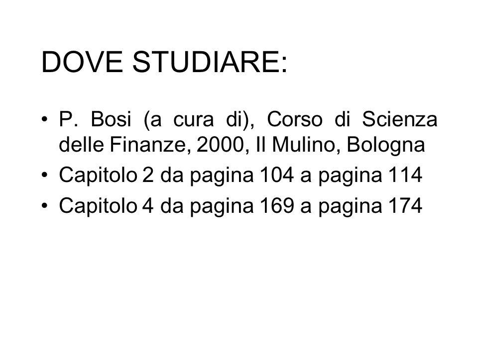DOVE STUDIARE: P. Bosi (a cura di), Corso di Scienza delle Finanze, 2000, Il Mulino, Bologna. Capitolo 2 da pagina 104 a pagina 114.