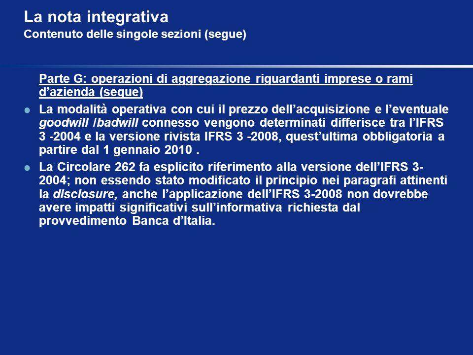 La nota integrativa Contenuto delle singole sezioni (segue)