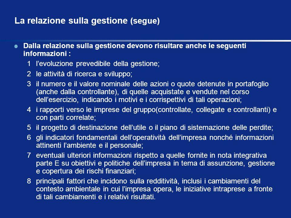 La relazione sulla gestione (segue)