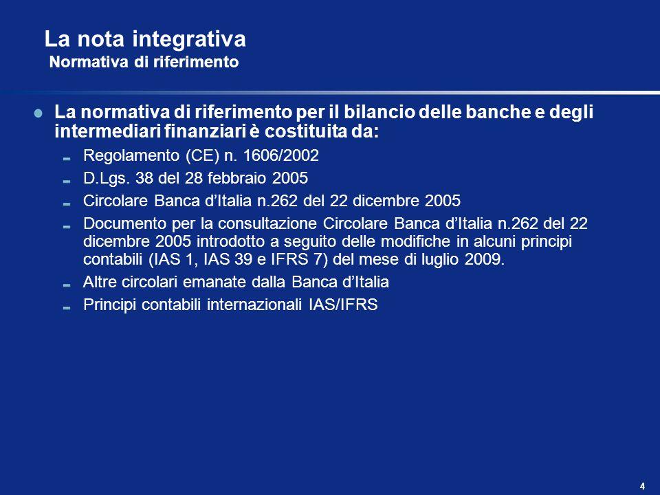 La nota integrativa Normativa di riferimento