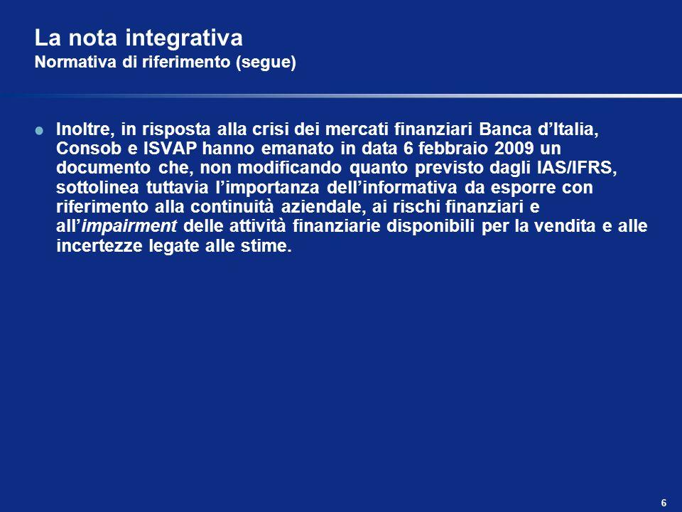 La nota integrativa Normativa di riferimento (segue)
