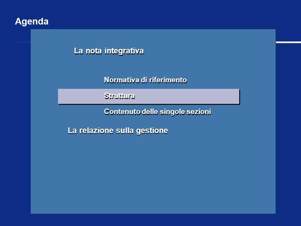 Agenda La relazione sulla gestione Struttura