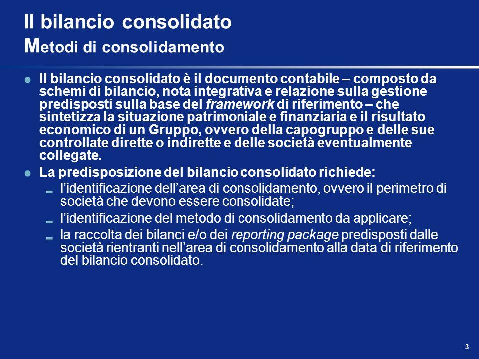 Il bilancio consolidato Metodi di consolidamento
