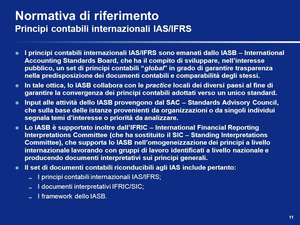 Normativa di riferimento Principi contabili internazionali IAS/IFRS