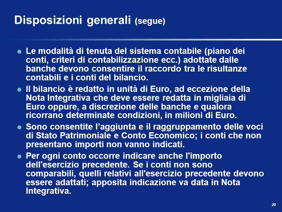 Disposizioni generali (segue)