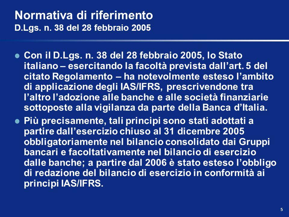 Normativa di riferimento D.Lgs. n. 38 del 28 febbraio 2005