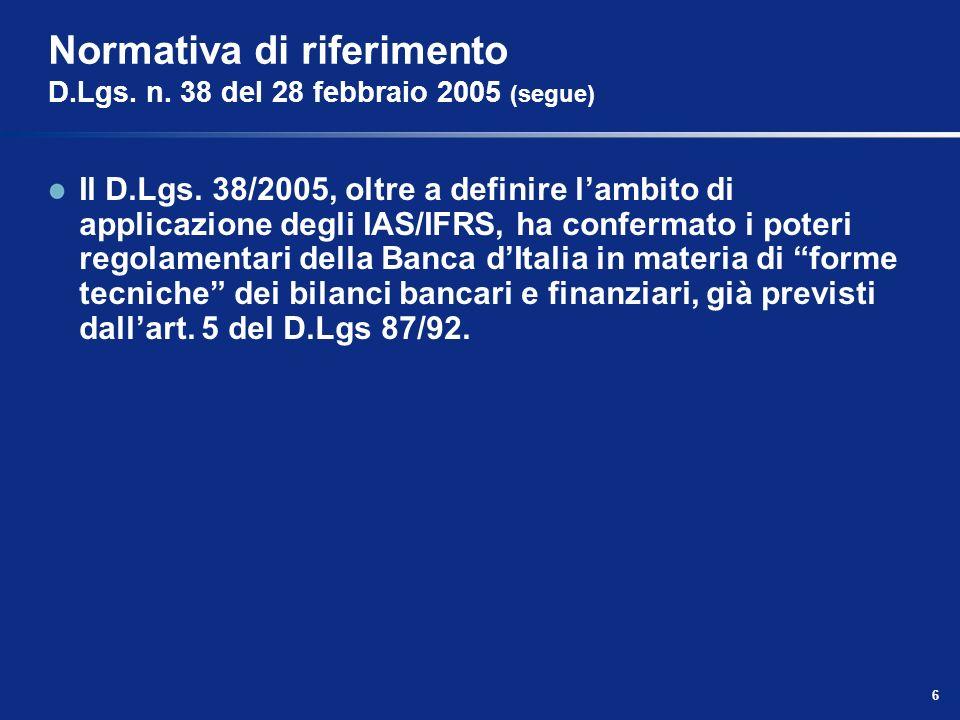 Normativa di riferimento D.Lgs. n. 38 del 28 febbraio 2005 (segue)