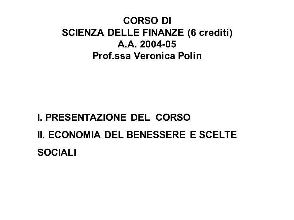 CORSO DI SCIENZA DELLE FINANZE (6 crediti) A. A. 2004-05 Prof