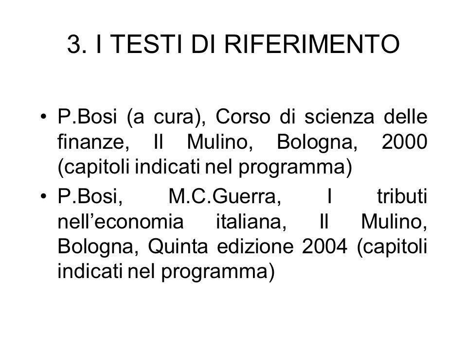 3. I TESTI DI RIFERIMENTO P.Bosi (a cura), Corso di scienza delle finanze, Il Mulino, Bologna, 2000 (capitoli indicati nel programma)