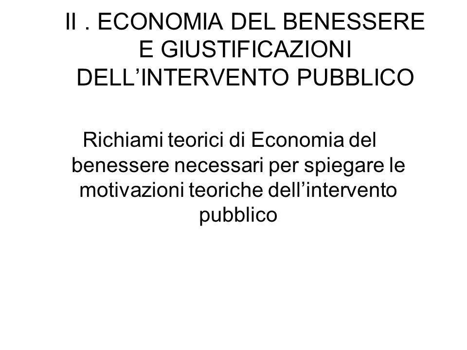 II . ECONOMIA DEL BENESSERE E GIUSTIFICAZIONI DELL'INTERVENTO PUBBLICO